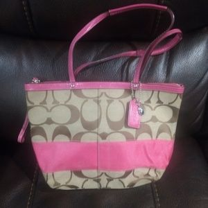 Authentic Coach Signature Pink Bag Purse Tote
